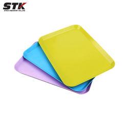 Rectangle de couleur de bonbons, des fruits du bac bac BAC, de la nourriture, de la plaque plate, Slip-Proof, plastique/Bac d'aliments (STK-PLS-010)