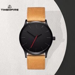 Cuir imperméable en acier inoxydable Fashion hommes Quartz Watch (71913)
