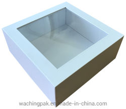 Carré blanc Paper Box emballage en carton Boîte avec fenêtre en plastique