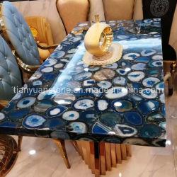 Natural de piedra de Ágata azul translúcido para mostrador de recepción y el panel de pared