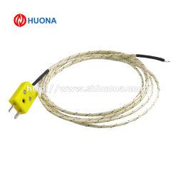 El sensor termopar tipo K con cable y conectores de Amarillo en miniatura