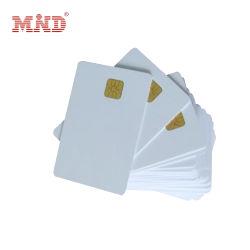 Reliablerfid Gratis voorbeeld Cr80 Smart Contact IC-kaart Sle4428/ Sle4442/ FM4442 Inkjet Rewritable Gold PVC Blank Chip Card