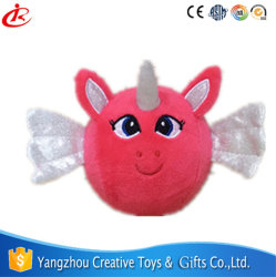 Rode Zachte Velboa 9cm het Stuk speelgoed van de Baby van de Pluche van de Eenhoorn van de Bal van de Spons met Borduurwerk en Vleugels