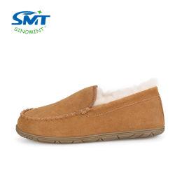 Custom Genuine Leather Rubber Sole Damesschoenen voor Sheepskin Slippers
