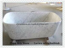 Vasca da bagno di marmo bianca della stanza da bagno di Bianco Carrara