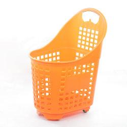 سلة تسوق سوبر ماركت بلاستيك رباعية العجلات بتصميم جديد