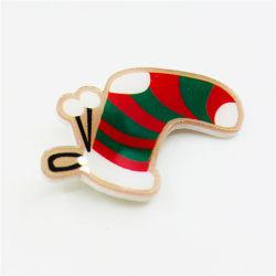 Mayorista de la fábrica de Navidad de plástico insignia de solapa Pin de acrílico de existencias de Navidad