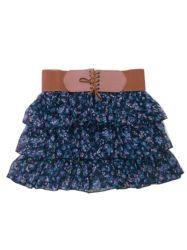 Lady Fashion court en mousseline Mini jupe noire avec la courroie (4211)