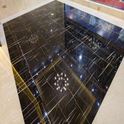 Черный мрамор с белым вен для плитками на полу и место на кухонном столе