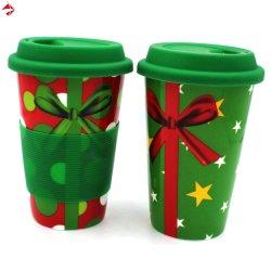 400ml de dubbele Mok van de Reis van de Koffie van de Muur met Deksel & Koker voor de Gift van de Verjaardag/van Kerstmis/van het Huwelijk