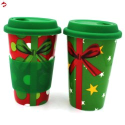 400ml誕生日またはクリスマスまたは結婚祝いのためのふた及び袖が付いている二重壁のコーヒー旅行マグ