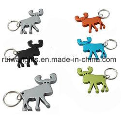 큰사슴에 의하여 형성된 알루미늄 열쇠 고리 병따개는, 주물 디자인을 정지한다