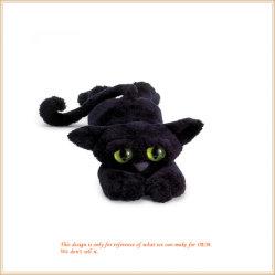 Сфотографируйтесь Black Cat с зелеными Глаза животных очаровательный игрушек детские игрушки