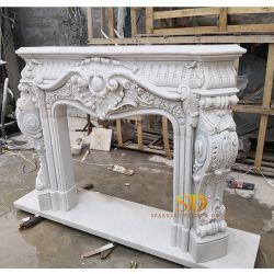 Lleno de estilo europeo, talladas a mano complicada Exquisitive chimenea de mármol blanco Surround para Salón