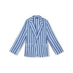 Ropa de mujer algodón hilo teñido rayas azul Casual cuello con solapa Chaquetas