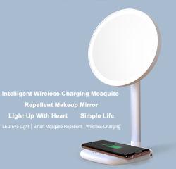 Carregamento sem fios com a função repelente de mosquitos espelho de maquiagem LED LED decorativas de Desktop da Lâmpada de Luz do espelho de cortesia Penteadeira Maquiagem Modelo-C