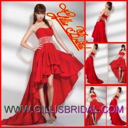 Modest Strapless Hi-Lo Pleated Taffeta Beaded Prom Dresses