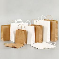 Weiße Kraft Recycling-Taschen Verpackung Kleine Logo Mini Papiertasche Benutzerdefiniert