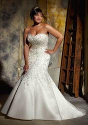 غلّة كرم تطريز ينظم ثوب زفافيّ فعليّة حجم صب [مرميد] [ودّينغ غون]