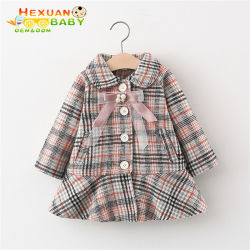 Les enfants s'use hiver Kids fille Grille en tissu de laine longue et épaississement de velours de coton enduire manteaux d'hiver