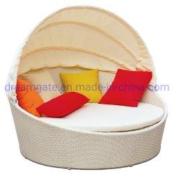 Mimbre redonda resistencia UV Sofá-Cama plegable de aluminio muebles de exterior
