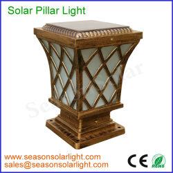 電池構築のが付いているヨーロッパ式の屋外の照明設備真鍮カラー5W太陽柱のゲートライト