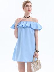Nouveau Women's Dress robe col horizontale de couleur pure off-jupe courte jupe The-Shoulder
