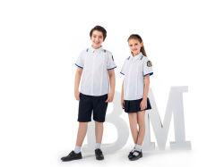 OEMの夏学生のスカートは均一ワイシャツの学校の衣服をショートさせる