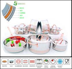 Het roestvrij staal Cookware plaatste het Lichaam van Composited van 5 Vouw Cookware Zonder water
