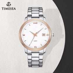 Unisexquarz-Uhr-Geschäfts-Edelstahl-analoge Uhr 70039