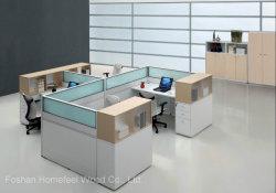 木製のモダンなスタッフがいる。コンピューターデスクのオフィススペース (HF-SID069)