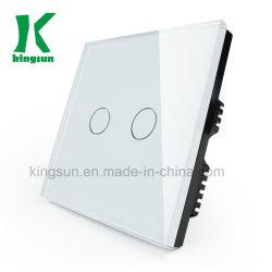 Стандарт Великобритании (2G 1W) белого стекла панели сенсорного переключателя освещения