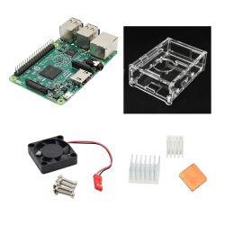 4 en 1 Pi 3 framboise Modèle B Kits avec V31 de l'acrylique Housse + Pi ventilateur + Ensemble dissipateur de chaleur en aluminium