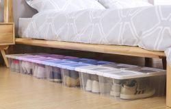 Armario de anaquel de plástico apilables Caja con tapa - Contenedor de la Organización de hombres y mujeres los zapatos, botines, Bombas, sandalias, cuñas, pisos, los talones