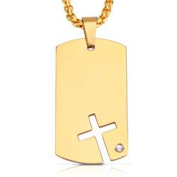 Viento Euramerican Collar de los hombres de acero de titanio, acero inoxidable marca militar conjunto Zircon perro Colgante Cruz de la marca al por mayor