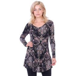 Mode féminine taille imprimé, encolure en V à manchon long chemisier