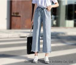 공장 도매 새로운 디자인 Custo 형식은 숙녀 우연한 넓 다리가 있는 바지 데님 진 똑바른 느슨한 스포츠 의류 소녀 바지 대량 주식 여자 청바지를 입는다