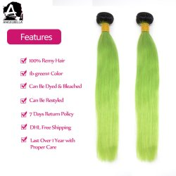 Angelbella Silky Straight Chinese Human hair 1b #- Green Remy hair Weft