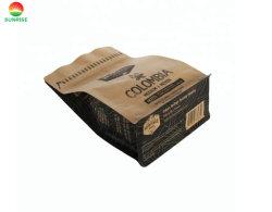 Custom напечатано ламинированные материалы пластмассовые боковые накладки 1 кг мешок для упаковки для немолотого кофе с воздушный клапан