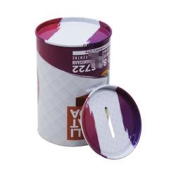 El tambor de aceite de almacenamiento de la Ronda de metal de forma de ahorrar dinero tin box