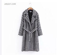 Lange flaumige Mantel-Plaid-Druck-Graben-Büro-Damen Outwear Mantel-langen Sahnemantel der Frauen