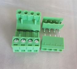 2edg 4p 5.08mm 피치 남여 플러그 연결관 녹색 공장 끝 구획
