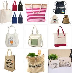 El algodón Canvas Drawstring bolsa de yute ecológica de promoción de venta al por mayor durabilidad reutilizables reciclaje Playa cremallera Duffel comestibles cosméticos bolsa de embalaje de regalo compras la bolsa de mango