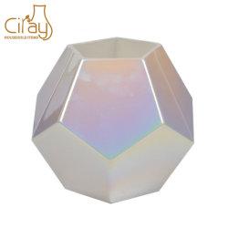 Стекло Multi-Faceted ваза с Жемчужный белый цвет
