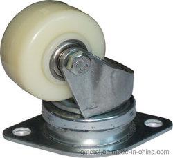 2つの玉軸受およびダイヤモンドの形の上の版が付いている白いナイロン車輪