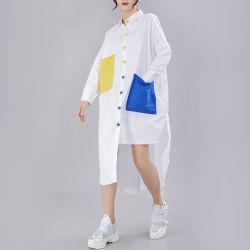 [تثرن-دوون] نمو متّبع آخر صيحة طوي طويلة كم لون قالب جيب ينقسم سائب أكبر من المعتاد طويلة قميص ثوب