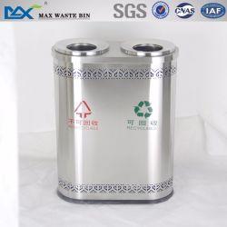 Max-Sn125 Dos Compartimiento Rvs Papelera de reciclaje de barril de acero inoxidable en el centro comercial Dubai Bin