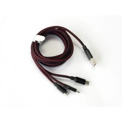 Il nylon all'ingrosso ha intrecciato tre in un cavo 3 in 1 USB veloce multifunzionale di 2.1A Charing che carica il cavo di dati di sincronizzazione per micro Tipo-c USB del lampo