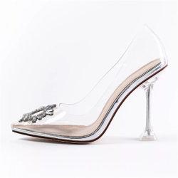 Los diamantes señaló la convergencia de las bombas la mujer de PVC Stiletto Crystal Clear zapatos de tacones de metacrilato
