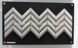 Pulido de mármol blanco de Carrara aluminio mixto Mosaico de Chevron